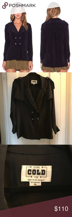 Stone Cold Fox Military Blouse Black Stunningly gorgeous black silk blazer style blouse from Stone Cold Fox. Lightweight and super silky Stone Cold Fox Tops Blouses