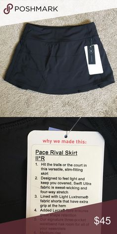 Pace Rival Skirt 2 Never been worn!! Got as gift but it is too small. Tags still on! lululemon athletica Skirts Mini