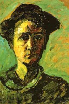 GABRIELE MÜNTER - Autoportrait (1909-1914)  Huile sur toile (49 x 34)