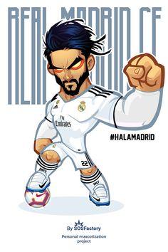 Isco Alarcon caricature Real Madrid Football Club, Real Madrid Players, Football Player Drawing, Soccer Drawing, Barcelona Players, Barcelona Soccer, Fc Barcelona, Soccer Art, Nike Soccer