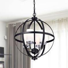 Benita Antique Black Iron Orb Chandelier With Glass Globe (Antique Black, Iron, Glass Globe)