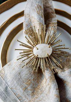 Alchemy Fine Home , Kim Seybert Flare Napkin Rings in Gold set of four , Fine Dining , Linen Napkins