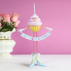 What a way to say #HappyBirthday - pre order our new #spring items now! https://www.patiencebrewster.com/birthday-cupcake-figure/