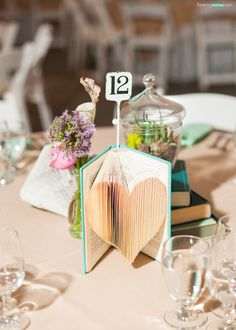 folded-books-diy-wedding-decor-heart-centerpiece
