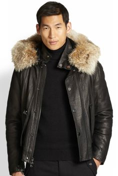 love this leather and fur bomber jacket from Michael Kors.