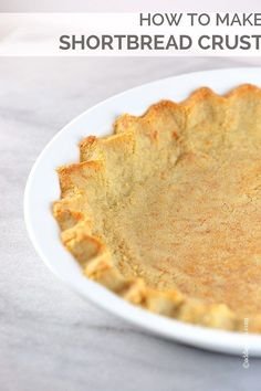 Shortbread Crust makes a delicious addition to so many desserts. Made of three ingredients, this simple shortbread crust is easy works for pies, cheesecakes, tarts, and so many other desserts.