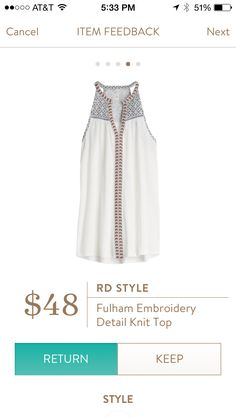 White embroidery detail knot top.  Stitch Fix Fashions.