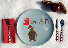 Personalized Boy Holiday Plate Penguin by Dylbug on Etsy, $20.00