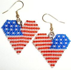 These heart shaped brick stitched earrings are just in time for Flag Day and the 4th of July.  They are beaded in patriotic colors of red crystal beads, a field of matte blue beads and stripes white p