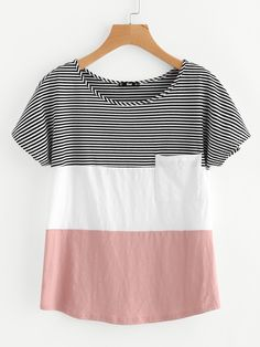 Patch Pocket Front Cut And Sew T-shirt -SheIn(Sheinside)