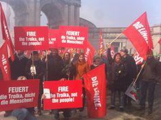 Protest gegen EU-Frühjahrsgipfel in Brüssel: Fire the Troika, not the people!