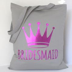 Bridesmaid Tote Bag with Pink Metallic Foil detail.