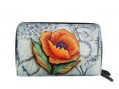 Deze prachtige handbeschilderde leren portemonnee heeft 1 papiergeldvak 1 vak voor uw rijbewijs 5 open vakken 1 vak met ritssluiting voor uw muntengeld - € 99,99