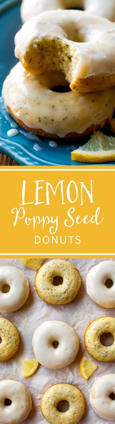 Baked and so easy! These deliciously glazed lemon poppy seed donuts are full of flavor and quick! Recipe on sallysbakingaddiction.com