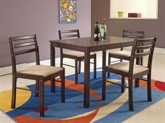 Parkwood Casual Cappuccino Wood 5pc Dining Set