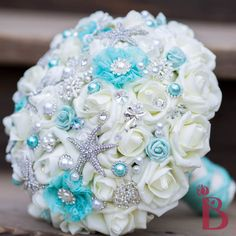 brooch wedding bouquet tiffany aqua blue lace pearls ivory roses brooches