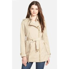 MICHAEL Michael Kors Zip Front Short Trench Coat ($275) ❤ liked on Polyvore