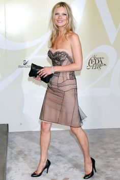 Kate Moss in Dior nude dress with black lace detailing to CFDA Awards in N.Y./June 6, 2005.