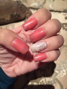 Nail pink and white glitter