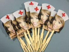 Photo graduation cupcake toppers nurse hat. set by CakeFaceToppers, $20.00