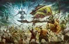 "Fell Wind Blowing by Tze Kun Chin on ArtStation. Copyright Games Workshop PLC Interior artwork for ""Age of Sigmar Rule book"". High Fantasy, Fantasy Rpg, Fantasy Artwork, Fantasy World, Fantasy Warrior, Warhammer Fantasy, Warhammer 40k Art, Vikings, Age Of Sigmar"