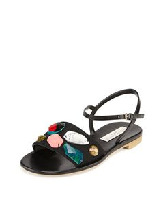 Beaded Ankle-Strap Sandal, Black by Stella McCartney at Neiman Marcus.