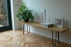 Solid-Oak-topped-bench-side-table-or-coffee-table-with-mid-century-hairpin-legs