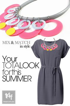 MIX & MATCH IN STYLE WITH T4F JEWELLERY!  Going smart ? Dress it up & Spice it up with a unique fashion necklace. 'Smart' can be forward and so can you!      ( Dress by #frenchconnection  – Necklace by #trash4flash )  #springsummer2013 #fashionjewellery #fashionnecklace #smartlook
