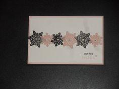 Carte Stampin'up! Tempête de souhaits. couleur : noir nu et fleur de cerisier. embossage à chaud sur papier vellum