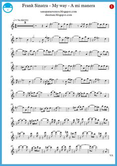 Free sheet music and play-along of My way - Frank Sinatra Alto Sax Sheet Music, Violin Sheet, Violin Music, Piano Songs, Piano Sheet Music, Frank Sinatra Music, Franck Sinatra, Bass Guitar Chords, Song Sheet