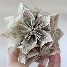 This kusudama sphere uses old book pages via Playing ...