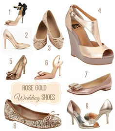 I love rose gold accessories, but i hadn't seen too many rose gold shoes. Rose Gold Wedding Shoes, Rose Gold Pumps, Gold Wedding Theme, Wedding Attire, Wedding Details, Wedding Dresses, Rose Gold Accessories, Fashion Accessories, Bridesmaid Shoes