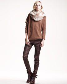 Brunello Cucinelli Off-Shoulder Cashmere Top, Ombre Boiled Cashmere Scarf & Leather Leggings