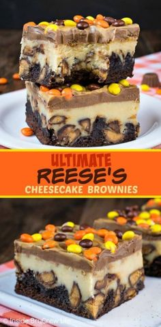 Ultimate Reese's Cheesecake Brownies - swirls of peanut butter and chocolate and.Ultimate Reese's Cheesecake Brownies - swirls of peanut butter and chocolate and lots of Reese's candies turn these cheesecake bars into the best brownies ever! 13 Desserts, Delicious Desserts, Yummy Food, Birthday Desserts, Birthday Brownies, Easy Potluck Desserts, Egg Free Desserts, Birthday Cheesecake, Christmas Cheesecake