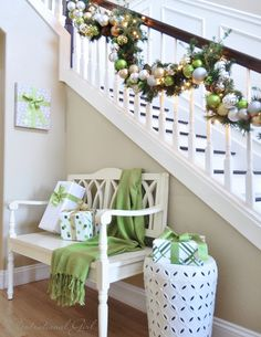 Lots of beautiful decorations in this house. Love the wrapped picture frame!