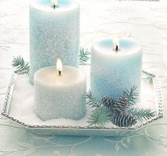 Frost covered candles, crafts