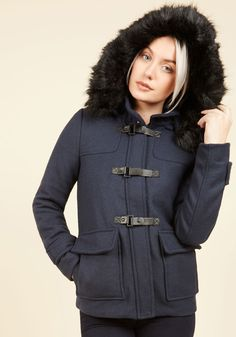 Held in Warm Regards Coat. By layering this navy blue coat over your look, you're the portrait of snuggled style. #blue #modcloth