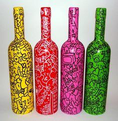 botellas de vidrio pintadas con acrilico - Buscar con Google