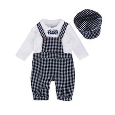 Rorychen Baby Boy 2PCS Plaid Clothing Set:Braces Rompers with Bowknot+Hat(0-2T): Amazon.ca: Clothing & Accessories