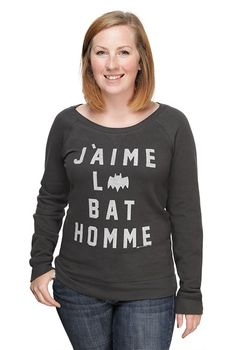 Exclusive I Love Batman Ladies' Scoop Neck Sweatshirt