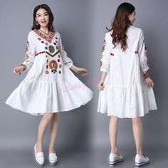 Women Vintage Retro Ethnic Style Cotton Linen Embroidered Floral Loose A-Style