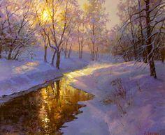 худ. Виктория Левина Интересно выглядят цвета, в частности - отражение восходящего солнца в воде и тени .