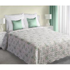 Obojstranná prikrývka na manželskú posteľ bielej farby so vzorom tyrkysových kvetov