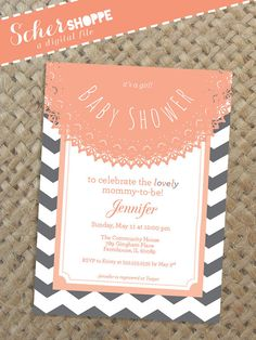 It's a Girl! Rustic Chevron Baby Shower Invitation in Gray and Pink Coral // Vintage Doily Shower Invite // digital, printable, custom file
