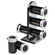 Found it at Wayfair - Zero Gravity 6 Canister Countertop Magnetic Spice Stand