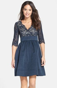 Love this silhouette for a bridesmaid dress. Fall/Winter wedding anyone? In a different color.  Eliza J Lace & Faille Dress (Regular & Petite) available at #Nordstrom