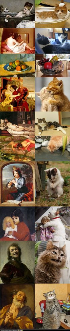 Cats imitating Art, or is it Art imitating cats? My favorite is the fruit bowl. And I'm worried that one of the cats is gnawing on a turd. I thought only dogs did that.