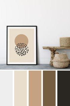 This neutral minimalist palette art for home decor is a great way to easily update your home. Neutral Japandi style symbols are perfect for the Fall. #neutraltexture #neutralapartments #Jandi #paintingsforthehome #accessoriesforthehome #artforhomedecor #itemsforthehome #giftsforthehome #fall #printables #art #affordable #neutral Color Schemes Colour Palettes, Paint Color Schemes, House Color Schemes, Colour Pallette, House Colors, Printable Art, Printables, Palette Art, Diy Furniture Projects