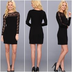 ❤️girly girl HP❤️ Jessica Simpson LBD size4 Jessica Simpson little black dress with lace sleeve size 4 gently used in a perfect condition Jeassica Simpson Dresses Mini