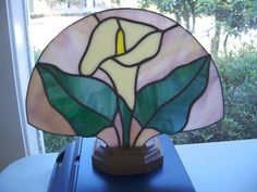 Handmade Stained Glass Fan Lamp. Perfect as an Accent Lamp or Night Light.    Includes Stained Glass Panel and Base with Wire Fixture and Bulb